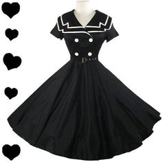 Nautical Pinup Dress// black & white shoes & bag also same colors for jewelry