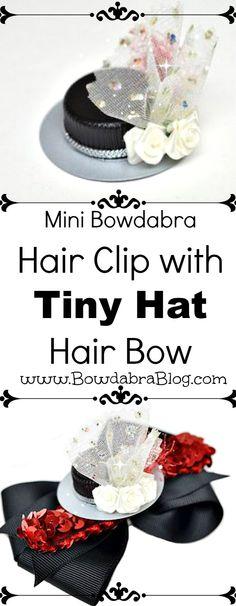 Mini Bowdabra Hair Clip with Tiny Hat Hair Bow Center