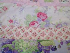 Horizontal baby children's quilt Sausalito Cottage fabrics by Lakehouse roses hydrangeas tea cups green pink lavender flannel by AuntieJenniesAttic on Etsy