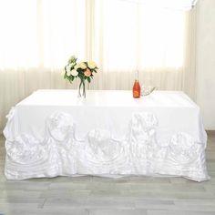 x Large Roses Lamour Satin Rectangular Tablecloth - White Rosette Tablecloth, Wedding Decorations, Table Decorations, Patriotic Decorations, Centerpieces, Bridal Table, Beautiful Table Settings, Winter Wonderland Wedding, Wedding Reception Tables