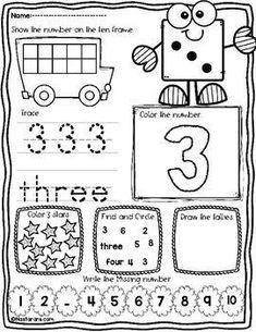 Numbers 1-10 Worksheets : Writing Tracing Numbers To 10 Kindergarten Activities
