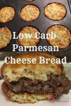 Low Carb Parmesan Cheese Bread--can use for biscuits or hamburger buns! Low Carb Diet, Low Carb Bagels, Keto Recipes, Low Carb Hamburger Recipes, Locarb Recipes, Keto Foods, Hamburger Buns, Diabetic Recipes, Ketogenic Recipes