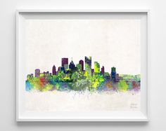 Pittsburgh Skyline, Print, Pittsburgh Poster, Watercolor Painting, Pennsylvania Art, Cityscape, Giclee Art, Home Decor, Halloween Decor by InkistPrints on Etsy https://www.etsy.com/listing/189330000/pittsburgh-skyline-print-pittsburgh