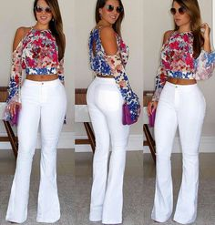 Pin by Luisa rico on moda in 2019 Hot Outfits, Dress Outfits, Summer Outfits, Casual Outfits, Fashion Dresses, White Pants Outfit, Love Fashion, Womens Fashion, Pinterest Fashion