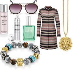 Fashionoffice spring 2017 tip: Cosmopolitan Style. fig.: 'Karma Beads' bracelet, necklace with 'Lion' pendant from the 'Africa' Spring/Summer 2017 collection by Thomas Sabo.  Pilot sunglasses (RC1046 32z) Spring/Summer 2017 by Roberto Cavalli. 'Lovegrass' eau de parfum (for women and men) by Clean; available in Austria from March exclusively at Marionnaud. Medical beauty line NCTF-Reverse by Filorga (from February at Marionnaud). Coat by comma, Spring Outdoor collection 2017.