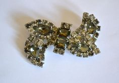 Art Deco BOW BROOCH Clear Rhinestones Antique Silver by ESTATENOW, $21.50  GORGEOUS, ONE OF A KIND GIFTS.