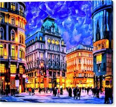 Austrian Canvas Print featuring Dusk Blue Skies Over Vienna by Mark Tisdale