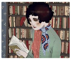 Reading Yeats 5 x 7 print by Celineloup on Etsy, $6.20