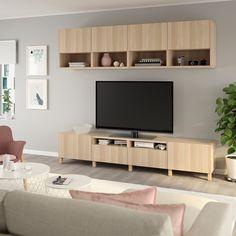 IKEA - BESTÅ TV storage combination walnut effect light gray Tv Storage, Storage Spaces, Tv Banco, Besta Tv Bank, Casa Milano, Plastic Foil, Drawer Fronts, Tv Unit, Interior Accessories