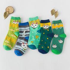 A075 носки оптовая продажа чжо ShangMian чулки южная корея полоса косоглазие милый кот леди хлопчатобумажные носки купить на AliExpress