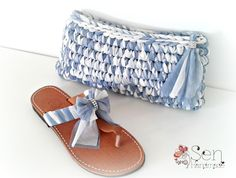 Handmade crocheted clutch with handmade leather sandal. All in tulle...