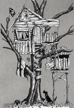 pen and ink tree house - Google Search
