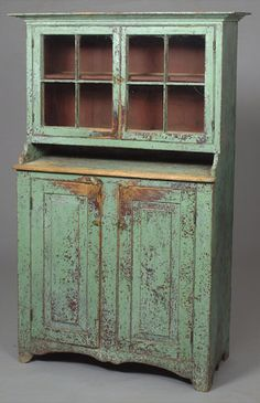 Glazed-Door Cupboard in Old Paint, Primitive Furniture, Primitive Antiques, Country Furniture, Paint Furniture, Country Decor, Antique Furniture, Country Cupboard, Antique Cupboard, Painted Cupboards
