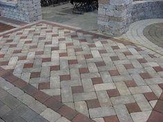 Pinwheel paver pattern, two-tone