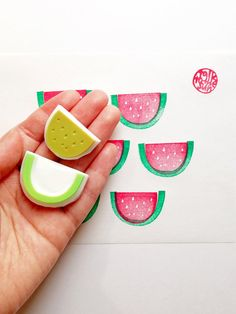 watermelon hand carved rubber stamp. summer fruit por talktothesun