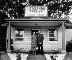 by ghs1922, via Flickr  Chamber of Commerce      Director of the Chamber, George Reed, and wife, Bella, standing in front of the newly-landscaped Chamber office. St. Petersburg Times, Nov. 19, 1972 (h429).