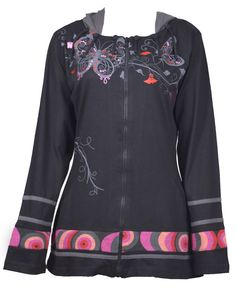 Women's Black Long Sleeve Sinker Jacket with Colorful Butterfly Print