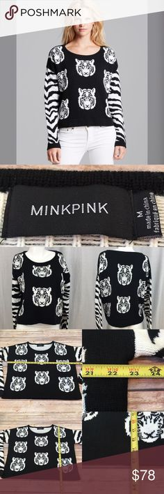 💄NWOT Size Medium MINKPINK Tiger Cropped Sweater Measurements are in photos. NEW WITHOUT TAGS no flaws. D3  Ask about a bundle discount on all items that are not ⏰Flash Sale items! I ship everyday. I always package safely. If I run out of boxes, I will use priority bags over a polymailer bag. If you prefer to only receive this great item in a box, please let me know! Thanks! MINKPINK Sweaters Crew & Scoop Necks