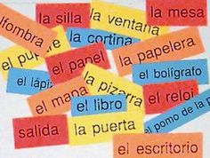 put word labels like this on bulletin board first day of school for Spanish 2 to place in proper places around the room (review)
