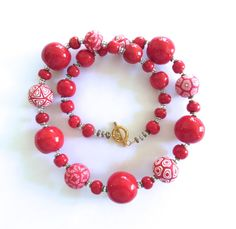Samunnat+and+Kazuri+Bead+Necklace+Red+Necklace+by+lizbriggsdesigns