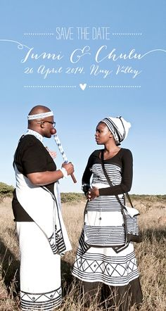 Love the mix of traditional and quirky in this save the date Zulu Traditional Wedding Dresses, South African Traditional Dresses, Traditional Dresses Designs, Traditional Skirts, Traditional Outfits, Xhosa Attire, African Attire, African Fashion Dresses, Seven Swans