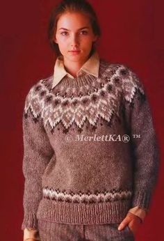 Fair Isle Knitting Patterns, Knitting Designs, Knit Patterns, Sweater Patterns, Handgestrickte Pullover, Norwegian Knitting, Icelandic Sweaters, Hand Knitted Sweaters, Vintage Knitting