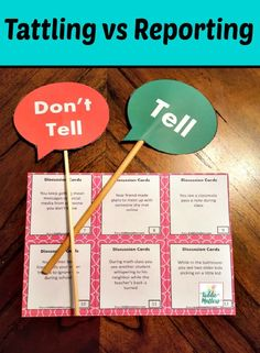 Tattling is a common problem for classroom teachers and parents. Help children learn to stop tattling by teaching them the difference between tattling and reporting with these fun activities. Students will complete a file folder activity in which they cut, paste, and sort tattling and reporting behaviors and they will also play a paddle game with discussion cards.