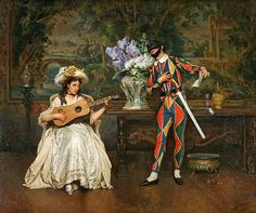 Musical Interlude. Woman And Harlequin by Jules Worms (French 1832 - 1924)