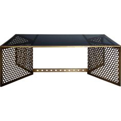 Dot & Bo Charlevoix Coffee Table ($649) ❤ liked on Polyvore featuring home, furniture, tables, accent tables, black coffee table, onyx table, black table, brass coffee table and brass furniture