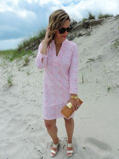 The Perfect Summer Dress Via Ellie Kai- it's pink, pretty and the no-wrinkle fabric make it perfectly packable for a weekend getaway!