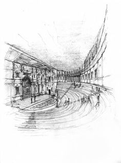 Vicenza Drawing: Theater, Church & Basilica