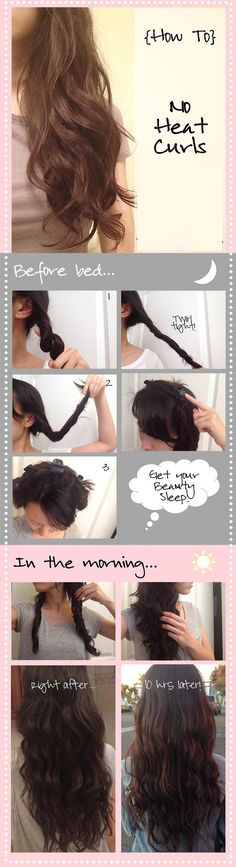 DIY No Heat Curls diy diy ideas easy diy diy beauty diy hair diy fashion beauty diy diy curls diy style diy hair style