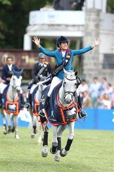 Luciana Diniz on Winningmood celebrates after winnning the Global Champions Tour of Madrid