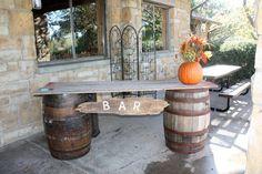 Wiskey barrel barn wood bar