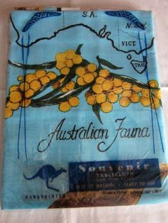 Vintage Rayon Souvenir Tablecloth Handprinted Australia 36 x 36 in. Tea Towels, Linens, Shops, Textiles, Quilts, Sewing, Handmade Gifts, Fun, Vintage