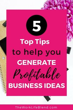 Have you always wanted to start your own business but don't have a clue what type of business to start? Here are 5 top tips to help you generate profitable business ideas. Successful Home Business, Starting Your Own Business, Home Based Business, Business Planning, Business Tips, Online Business, Business Website, Business Quotes, Creative Business