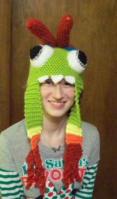 Made this Murlock Hat for my boyfriend last year for Christmas! It was my second crochet project. He LOVED it btw.  Got the pattern off a lady on Etsy if anyone else out there is a World of Warcraft fan.  #HH-Crochet