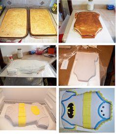 step by step batman baby shower cake