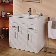 Contemporary 75cm High Gloss White Vanity Unit With 2 Drawers And 3 Cupboards Basin