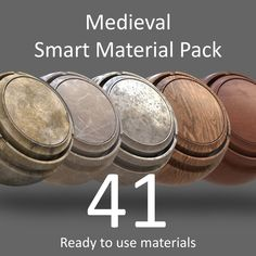 """""""SP Smart Materials: Medieval Pack"""" it's a pack of Smart Materials to use inside Substance Painter 2. This pack contains 41 Materials divided in 7 categories: Bone (3 SMaterials), Leather (4 SMaterials), Marble (3 SMaterials), Metal (13 SMaterials), Stone (4 SMaterials), Wood (5 SMaterials), Wear & Tear (9 SMaterials). All of them are fully customizable. You can easly modify the materials to achieve the effect that you need. Vray Tutorials, 3ds Max Tutorials, Substance Designer Tutorial, 3d Computer Graphics, Smart Materials, Zbrush Tutorial, Material Library, 3d Max, Texture Painting"""