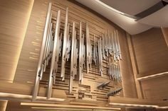 These pipes in a church in Montreal are a work of art. Very creative and striking. Mod Music, Old Musical Instruments, Piano, Asymmetrical Design, Kirchen, New Image, Modern Design, Celestial, Montreal