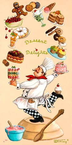 Whimsical Chef Dessert Delights, one of a set of four original oil paintings by artist Janet Kruskamp. This tall, narrow poster features the. Foto Transfer, Original Paintings For Sale, Tile Murals, Decoupage Paper, Vintage Diy, Kitchen Art, Food Illustrations, Stretched Canvas Prints, Painting On Wood