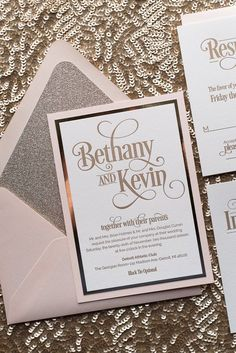 Elegant BETHANY Suite Fancy Glitter Package, Blush And Gold, Glitter Wedding  Invitations, Gold Glitter