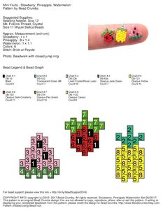 Free Brick Stitch Pattern, Stawberry, Watermelon, Pineapple. Bead Crumbs.