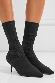 Heel measures approximately 55mm/ 2 inches Black stretch-knit Pull on Made in Italy