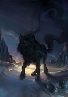I like the presence this Wolf gives off in this picture as it's what I'm looking for, for my concept art. Anime Wolf, Fantasy Wolf, Fantasy Art, Dark Fantasy, Shadow Wolf, Wolf Pictures, Beautiful Wolves, Anime Animals, Mythical Creatures