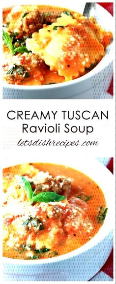 #recipes #ravioli #creamy #tuscan #soup #lets #dish Creamy Tuscan Ravioli Soup | Let's Dish RecipesYou can find Italian soup recipes and more on our website.Creamy Tuscan Ravioli Soup | Let's Dish Recipes Italian Soup Recipes, Best Soup Recipes, Ravioli Soup, Tuscan Soup, Food Dishes, Curry, Website, Ethnic Recipes, Curries