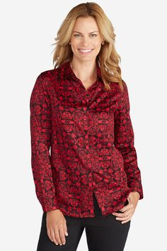 No-Iron Printed Shirt, Dover Red