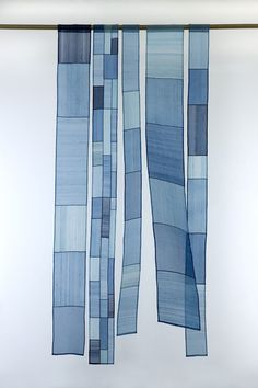 "Something like this for the south living room window. Korean patchwork panels, window inspiration: ""From Seam to Seam: Pojagi Fabric Art"" Muckenthaler Cultural Center, exhibit Textiles, Textile Design, Textile Art, Indigo, Korean Art, Fabric Art, Shibori, Colours, Windows"