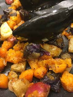 Do you have leftover veggies and don't know what to do with them? Make a hash! This is butternut squash, onion, and potatoes cubed small and fried in olive oil, salt and pepper. Easy and tasty!